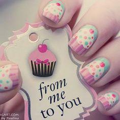 unhas decoradas cupcake
