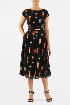 I <3 this Wine cooler print pleated empire georgette dress from eShakti