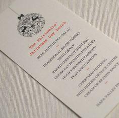 Personalised Christmas Menu Cards