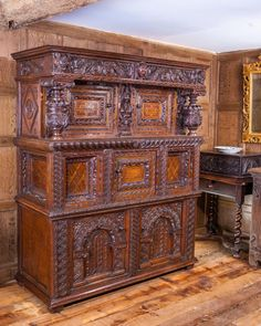 Elizabeth I joined oak press cupboard, Marhamchurch antiques