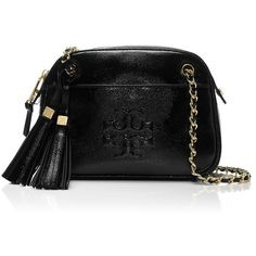 Tory Burch Thea Patent Chain Cross-Body Bag (1.220 BRL) ❤ liked on Polyvore featuring bags, handbags, shoulder bags, black, crossbody shoulder bag, tory burch, cocktail purse, tory burch shoulder bag and chain crossbody