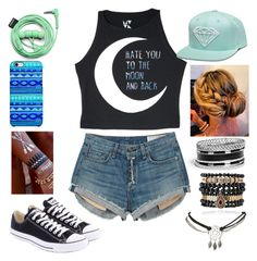 """""""Hate you to the moon and back"""" by ya-borrego ❤ liked on Polyvore featuring rag & bone, Converse, Urbanears, Uncommon, GUESS, Samantha Wills and Wet Seal"""