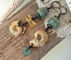 by Sheri Mallery, Exotic Beach Porcelain Earrings by SheriMalleryHandwork.etsy.com