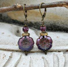Bohemian Czech Flower Earrings Purple Mauve Violet by LunarBelle