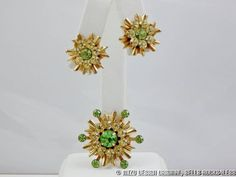 Mid-Century Modern Gold Peridot Rhinestone Starburst Demi - Earrings and Brooch #Unbranded