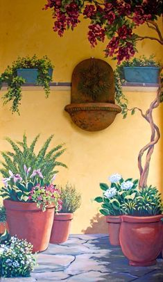 garden painting Perfect eyecatching DIY artistic decoration ideas for outdoor areas Garden Painting, Mural Painting, Mural Art, House Painting, Garden Art, Wall Murals, Wall Art, Paintings, Mural Floral