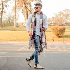 Men's fashion. Jeans, shirt and long scarf                                                                                                                                                                                 More