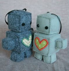 Adorable plush robots