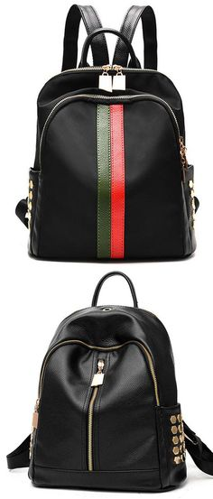 Unique Black PU Green Red Vertical Stripes Bag Frosted Oxford Cloth Rivet Backpack for big sale! #strip #green #rivet#school #college #bag #backpack #student #fashion #women #girl #travel