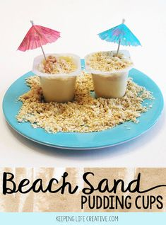 """Beach Sand Pudding is such a simple and fun treat! Top pudding cups with cookie """"sand"""" to create a beach-themed snack to enjoy on a summer day, or anytime!"""