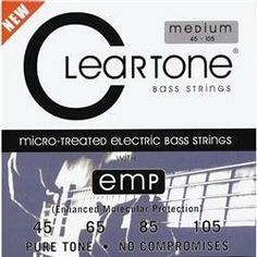 Cleartone Medium Bass .045-.105 Strings by Cleartone Strings. $34.89. The 6445 set of bass strings may have a coating of only one micron, but it s more durable than coatings thousands of times its thickness. It won t flake off with hard playing, nor will it feel slick or slippery to your touch. Super-high tension winding over a hex-core is used to maintain tuning consistency throughout performance duration. EMP Treatment is then applied to all the strings (including the...