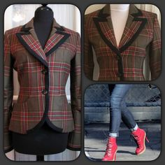 """Just In"" L.A.M.B Plaid Blazer Great plaid blazer by L.A.M.B. Great details with buttons and distressed trim on the back. 100% wool. Size P same as XS/S. Love this blazer, never worn a little too small for me. Great with jeans, skirts and shorts. Beautifully designed as only Gwen Stefani can do. Measures approximately 22""L, sleeves 23.5"" long, 16"" across bust lying flat and buttoned. Fully lined. L.A.M.B. Jackets & Coats Blazers"