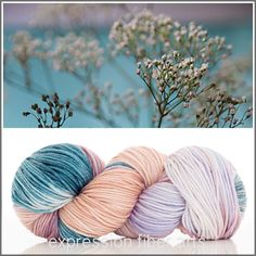 Gasp! Beautiful Baby's Breath dk weight yarn. Love it! Would make a great knit or crochet baby blanket or scarf!