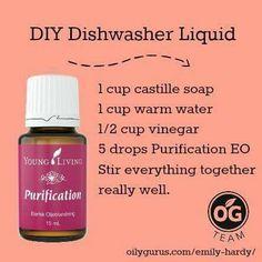 DIY Dish Liquid Essential Oils Cleaning, Essential Oil Uses, Young Living Oils, Young Living Essential Oils, Deodorant, Diy Savon, Yl Oils, Dishwasher Detergent, Dishwasher Cleaner
