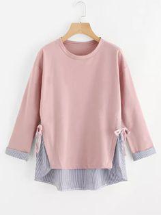 e69abb5cd6 Plus Striped Hem Sweatshirt -SheIn(Sheinside) Chique Sem Esforço