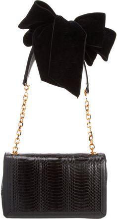 LOUBOUTIN Artemis Velvet Bow Shoulder Bag - Lyst