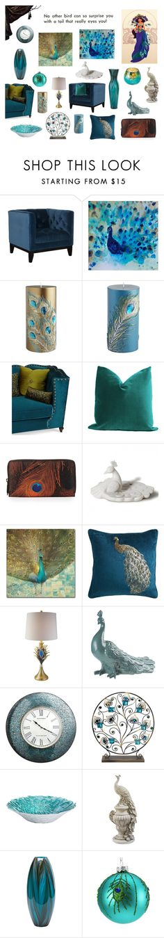 """Peacock decor!"" by laura-nicole-cantu ❤ liked on Polyvore featuring interior, interiors, interior design, home, home decor, interior decorating, Pier 1 Imports, Haute House, Givenchy and Trademark Fine Art"
