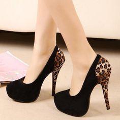 $ 46 Fashion Leopard Black Sexy Women's Party Pumps Stiletto Platform High Heel Shoes