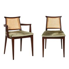View this item and discover similar for sale at - Set of ten dining chairs by Edward Wormley for Dunbar. Asian-styled dark mahogany chairs with caned backs and removable seat cushions. A great set with Dining Room Chairs, Side Chairs, Modern Furniture, Furniture Design, Ergonomic Computer Chair, Edward Wormley, Dark Mahogany, Sofa Chair, Seat Cushions