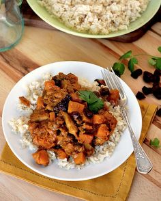 Curried Coconut Chicken with Squash and Dried Cherries ~ The name is a mouthful and so are the flavors. The sweet and creamy coconut pairs perfectly with all those spices. Yum!