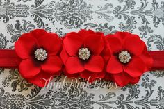 Beautiful Red Triple Flower Christmas Baby Headband