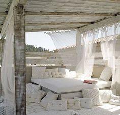 White linen, cozy lounge area, Mediterranean Porch