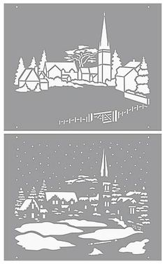 Shade of Grey Christmas Stencils, Christmas Svg, Christmas Scenes, Silhouette Curio, Silhouette Cameo Projects, Paper Cutting, Glass Etching Stencils, Paper Pot, Glass Engraving