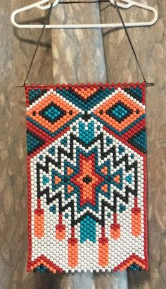 Beaded Banner Bright Southwest Design and Colors image 1 Pony Bead Patterns, Peyote Stitch Patterns, Beaded Jewelry Patterns, Macrame Patterns, Beading Patterns, Crochet Patterns, Diy Friendship Bracelets Patterns, Bracelet Patterns, Pony Bead Crafts