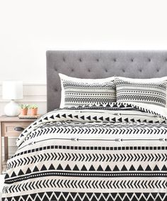 Look at this #zulilyfind! Allyson Johnson Black & White Geometric Duvet Cover #zulilyfinds