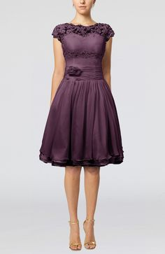 Plum Bridesmaid Dress - Cinderella A-line Scalloped Edge Short Sleeve Chiffon Knee Length Short