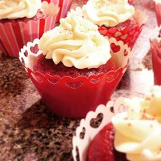 My Valentine's Day cupcakes ♥ Red velvet with cream cheese icing.
