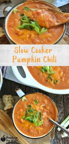This vegetarian Slow Cooker Pumpkin Chili recipe is the perfect way to add a bit of pumpkin to your dinner table! Pumpkin Chili, Pumpkin Spice Syrup, Canned Pumpkin, Chili Recipes, Slow Cooker Recipes, Bowl Of Soup, One Pot Meals, Winter Food, Dinner Table