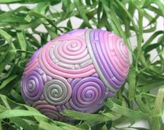 Polymer-clay-covered easter egg,