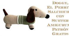 Perrito salchicha amigurumi con sueter de cuello alto para enfrentarse al frío invernal. Amigurumi Tutorial, Amigurumi Patterns, Crochet Patterns, Love Crochet, Knit Crochet, Crochet Animals, Crochet Dolls, Baby Patterns, Yarn Crafts