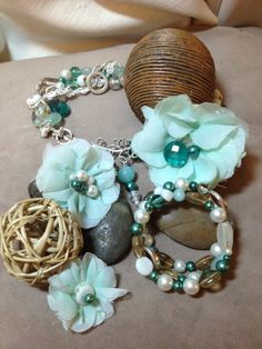 Blue & Silver  Flower Necklace Bracelet and by CleverInspirations, $53.99