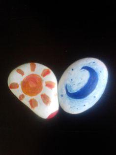 piedras pintadas  sol luna