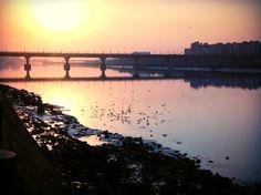 Sun rise click at Sardar bridge, Surat