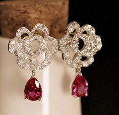 Top Quality Luxury Red Blue Swiss CZ Zircon Waterdrop Copper 18K White Gold Plated Rose Flower Drop Earrings 9.99$