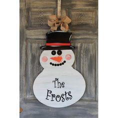 The Holiday Aisle Snowman Door Sign Customize: Yes Burlap Door Decorations, Christmas Door Decorations, Christmas Ornament, Snowman Door, Wood Snowman, Snowman Crafts, Christmas Wood, Christmas Snowman, Christmas Time