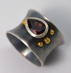 Garnet Sterling 18K Gold Ring Handmade Wild Prairie by joykruse
