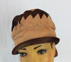 Flapper Cloche Hat Brimmed C1920/30's Bicolour Stitch work , Flapper Fashions , Downton Abbey , Antique Hat , Roaring Twenties ,