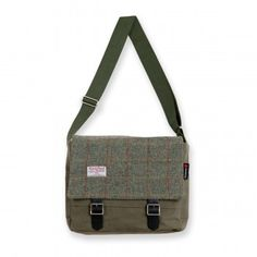 fb8370b1af  The Strathtay  Messenger Bag in Olive Green and Green Check Harris Tweed  Harris Tweed