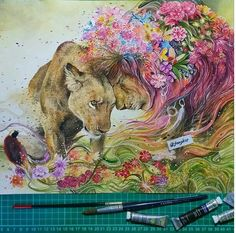 Find images and videos about love, art and flowers on We Heart It - the app to get lost in what you love. Art And Illustration, Watercolor Illustration, Watercolor Art, Painting Illustrations, Animal Paintings, Animal Drawings, Art Drawings, Fantasy Kunst, Fantasy Art