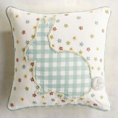 Pier 1 Throw Pillow Bunny Gingham Spring Yellow Pink Blue Rabbits Flowers New Cute Pillows, Diy Pillows, Throw Pillows, Easter Projects, Easter Crafts, Easter Pillows, Gingham, Sewing Projects, Applique