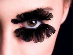 We love these feather eyelashes - a very dramatic makeup look to add to your high fashion outfit.