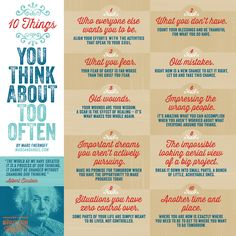 10 Things You Think About Too Often by Marc Chernoff via American Express' #PassionProject