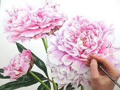 I had a lot of fun painting the layers and layers of petals in these pretty peonies!