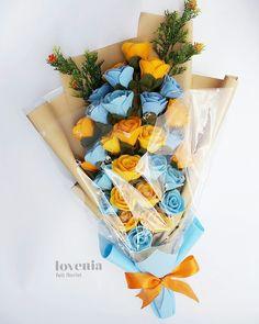 Blue-Orange Lovenia Bouquet, such youthfull color combination Bunga flanel jogja  visit us on instagram: @lovenia.florist