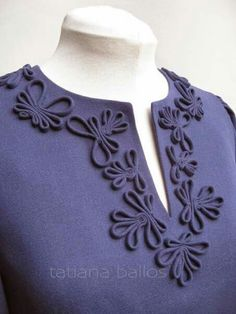 How-To: Embellish Sewing Projects with Surface Cording Neckline Designs, Dress Neck Designs, Sleeve Designs, Blouse Designs, Look Fashion, Fashion Details, Womens Fashion, Fashion Design, Ribbon Embroidery