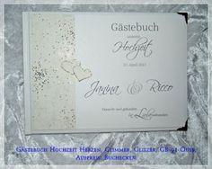 Gästebuch Hochzeit-Creme-Glimmer-Glitzer-Herzen